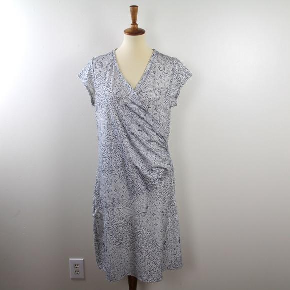 Athleta Nectar Faux Wrap Dress Paisley Print XL